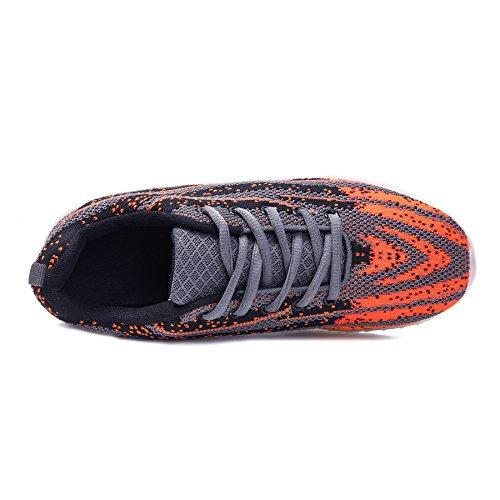 BOKEN Männer Frauen Mode LED Schuhe Atmungs Licht Up USB Lade Blinken Turnschuhe Mit Fernbedienung Grau / Orange