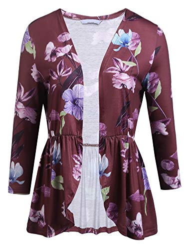 Yayado Women 1/2 Sleeve Tops Lightweight High Low Frill Hem Drape Cardigan Wine Red S