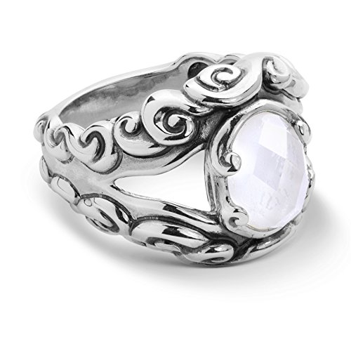 Carolyn Pollack - Sterling Silver Mother of Pearl Doublet Split Band Ring - 6 - Lasting Connections Collection - Wide Split Shank Ring