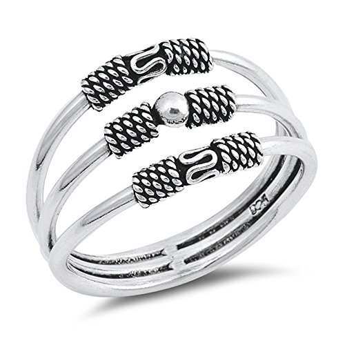 - Princess Kylie 925 Sterling Silver Rope Design Triple Split Shank Band Ring Size 8