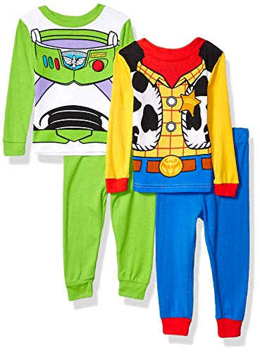 Toy Story Boys' Toddler 4-Piece Cotton Pajama Set, 4T Blue