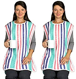 Adult Bib with Velcro Closure - Long Length - 2 Pack
