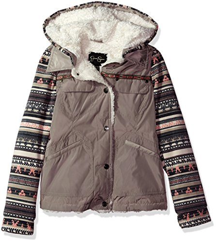Angels Knit Jacket - Jessica Simpson Girls' Big Hooded Vestee Jacket, Angel Taupe, 7/8