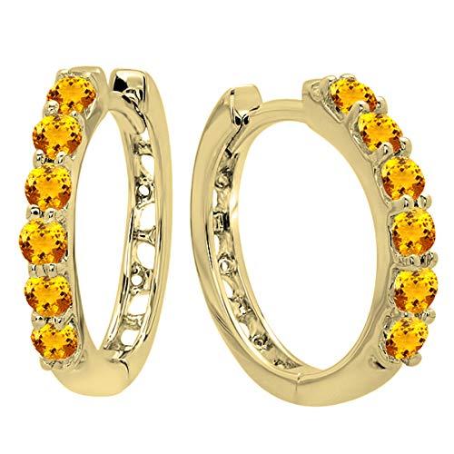 - 18K Round Citrine Ladies Huggies Hoop Earrings, Yellow Gold