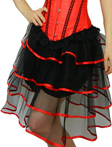 Burlesque Dance Costumes (Yummy Bee Womens Long Frilly Tutu Skirt Burlesque Costume Red Size 8 - 10)