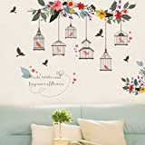 Best Birds Stickers For Wall Arts - Witkey Birdcages Flowers Flying Birds Wall Stickers Birdhouse Review