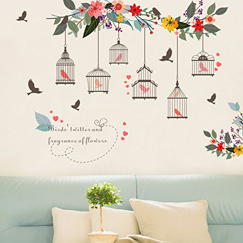 Wall Cage Art (Witkey Birdcages Flowers Flying Birds Wall Stickers Birdhouse Decals Removable Art Wall Stickers home décor PVC For Kid Room Bedroom Wallpaper)
