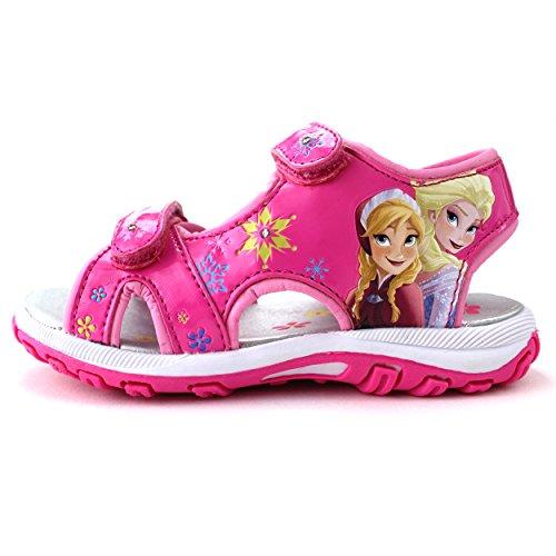 Disney Frozen Elsa Anna Girls Lighted Sport Sandals Shoes (11 M US Little Kid, Pink)