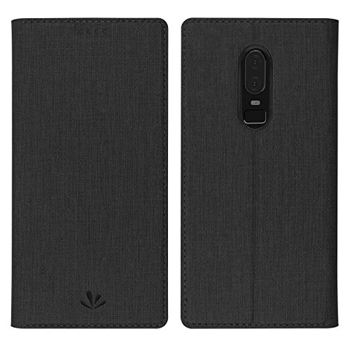 Simicoo OnePlus 6 Flip PU Leather Slim Fit case Card Holster Stand Magnetic Cover Clear Silicone TPU Full body Shockproof Pocket Thin Wallet Case for OnePlus 6 One plus 6 1+6 (Black, OnePlus 6)
