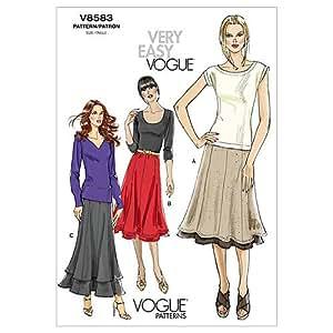Vogue V8583 - Falda para mujer, Size B5 (8-10-12-14-16)