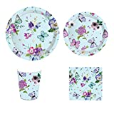 CC HOME Summer Flower Butterfly Party Decorations ,Floral Butterfly Party Supplies Pack - Serves 16 - Includes Plates, Cups and Napkins. Supply Tableware Set Kit for Appetizer, Lunch, Baby Shower, Birthday Party,Tea Party Decorations