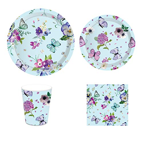 CC HOME Summer Flower Butterfly Party Decorations ,Floral Butterfly Party Supplies Pack - Serves 16 - Includes Plates, Cups and Napkins. Supply Tableware Set Kit for Appetizer, Lunch, Baby Shower, Birthday Party,Tea Party Decorations (Butterfly Party Supplies Birthday)