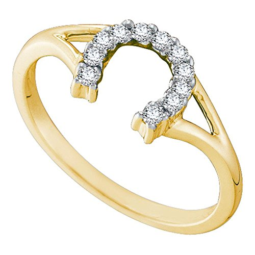 Ladies Horseshoe Diamond Ring (10kt Yellow Gold Womens Round Diamond Lucky Horseshoe Split-shank Ring 1/10 Cttw)