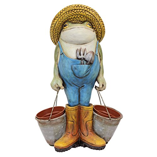 Design Toscano Buckets The Garden Frog Statue, Full Color
