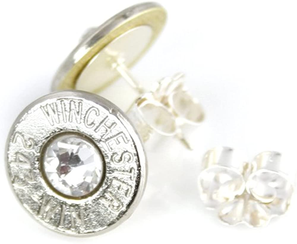 .925 Sterling Silver Posts and Backs Swarovski Crystals Winchester 9mm Brass Bullet Stud Earrings