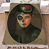 iPrint Bed Skirt Cover 3D Print,Girl with Calavera Inspired Makeup and Topper,Best Modern Style Bed Skirt for Men and Women by 47.2''x78.7''