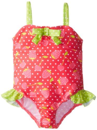 Pink Platinum Little Girls'  Strawberry One Piece Swimsuit, Fuchsia, 3T