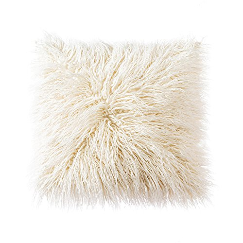 OJIA Deluxe Home Decorative Super Soft Plush Mongolian Faux Fur Throw Pillow Cover Cushion Case (20 x 20 Inch, Beige)
