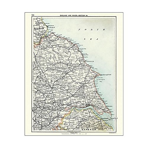 Media Storehouse 10x8 Print of Antique map, North and East Yorkshire 19th Century (15231373) ()