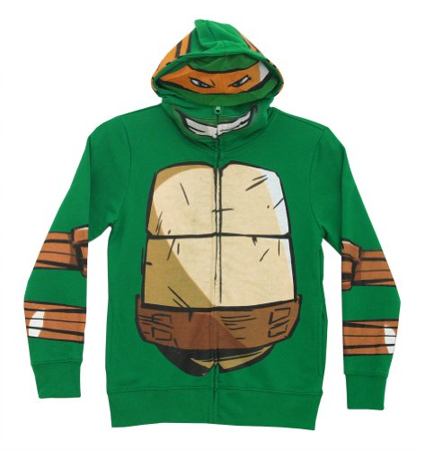 [Teenage Mutant Ninja Turtles Mike Zip-Up Mask Big Boys Costume Hoodie Sweatshirt] (Ninja Turtles Splinter Costumes)