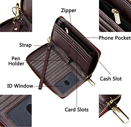 Purse Rfid Clutch Wallet Womens Card Blocking Purple Genuine Leather Geunine Credit Simpacx Y7UOCqwx