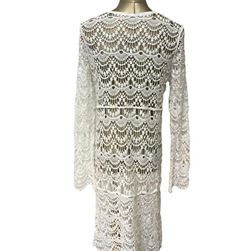 del rivestimento lungo spiaggia Vestito copertura dalla del della V di collo crema amp;PU Crochet lungo Beige Beachwear della del spiaggia PU della del donna della del fiore manicotto qXaSxw