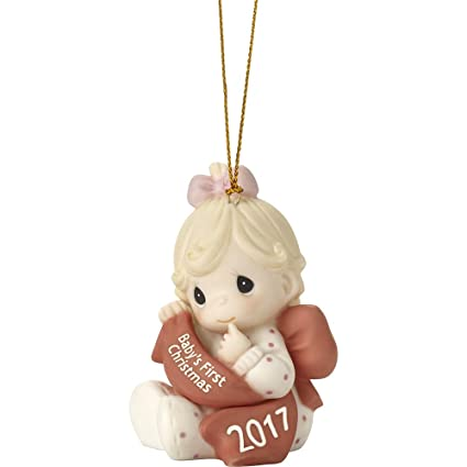 precious moments babys first christmas 2017 dated girl bisque porcelain ornament 171005