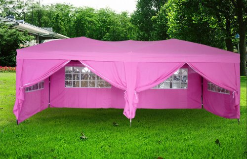 EXACME New Pink 10'x20′ POP up Wall Wedding Canopy Party Tent Gazebo with Carry Case, Outdoor Stuffs