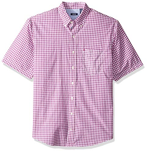 IZOD Men's Big and Tall Breeze Short Sleeve Button Down Gingham Shirt, Hollyhock, 5X-Large