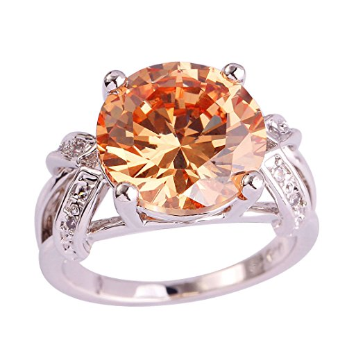 Veunora Gorgeous 925 Sterling Silver Created 12x12mm Morganite Filled Solitaire Ring Size 9 ()