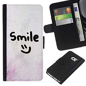 Planetar® Modelo colorido cuero carpeta tirón caso cubierta piel Holster Funda protección Samsung Galaxy S6 EDGE (NOT S6) ( Smile Motivational Smiley Emoticon )