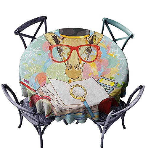 G Idle Sky Graduation Fitted Tablecloth Hipster Giraffe Animal with Glasses and Cap Geek Student in Education School Easy Care D59 - Cap Fitted Pinwheel