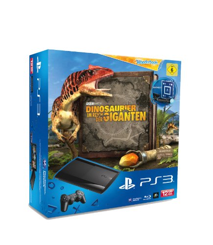PlayStation 3 - Konsole Super Slim 12 GB (inkl. DualShock 3 Wireless Controller + Move Starter Pack + Wonderbook: Dinosaurier - Im Reich der Giganten
