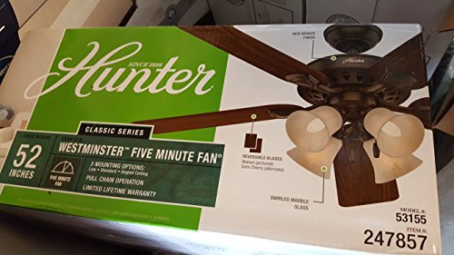 Hunter Westminster 5 Minute Fan 52-in New Bronze Indoor Downrod Or Close Mount Ceiling Fan with Light Kit ()