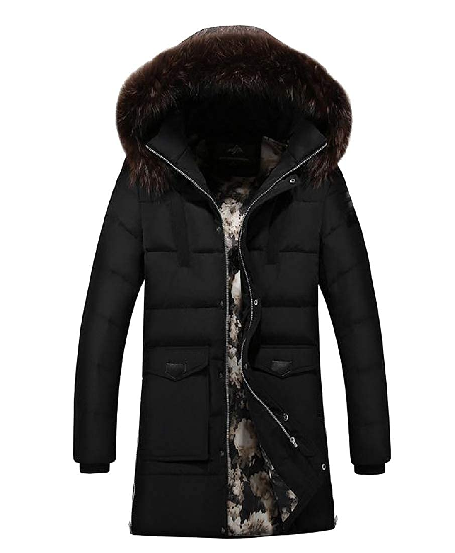 Tootless-Men Fur Collar Brumal Mid-Long Hooded Thickened Outwear Jacket