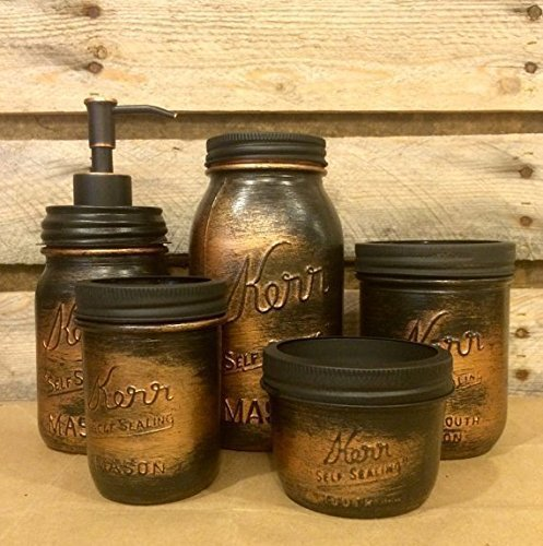 5-Piece-Vintage-Kerr-Mason-Jar-Desk-Organizer-or-Bathroom-Set-Black-Copper-Bathroom-Set-Rustic-Copper-Mason-Jar-Desk-Set-Mens-Rustic-Copper-Bathroom-Accessories