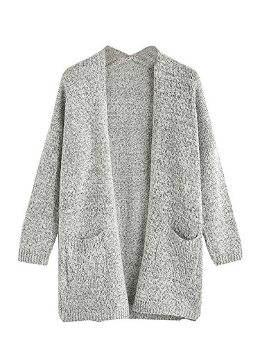 (SheIn Women's Casual Drop Shoulder Open Front Sweater Cardigan with Pockets Grey Medium)