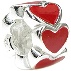 Queenberry Sterling Silver Endless Love Red Heart European Style Bead Charm Valentine's Day Gifts Idea