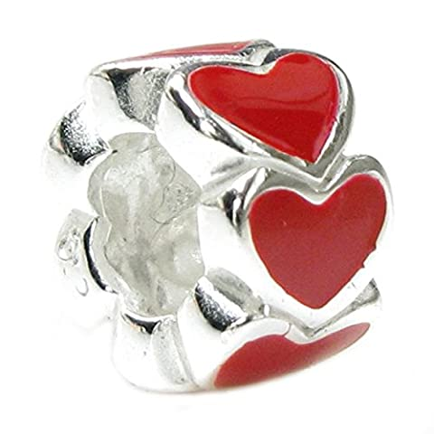 Queenberry Sterling Silver Endless Love Red Heart European Style Bead Charm - Smaltato Cuore Bead