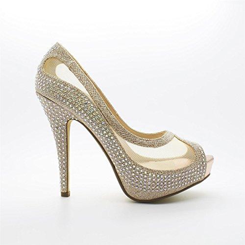 femme Peep Beige Champagne Footwear Toe London axnwqUzF55