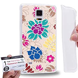 Case88 [Samsung Galaxy Note 4] Gel TPU Carcasa/Funda & Tarjeta de garantía - Art Fashion Light Beige Painted Fashionista Floral Art2041