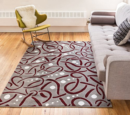 [Landmark Red Geometric Modern Casual Abstract Swirls Dots Lines 5x7 ( 5' x 7'2'' ) Area Rug Thick Soft Plush Shed Free] (Modern Art Deco)