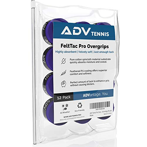 ADV Tennis Dry Overgrip - Remarkably Absorbent - Must Feel Velvety Comfort - Exclusive FeltTac Material (12 Pack, Purple)