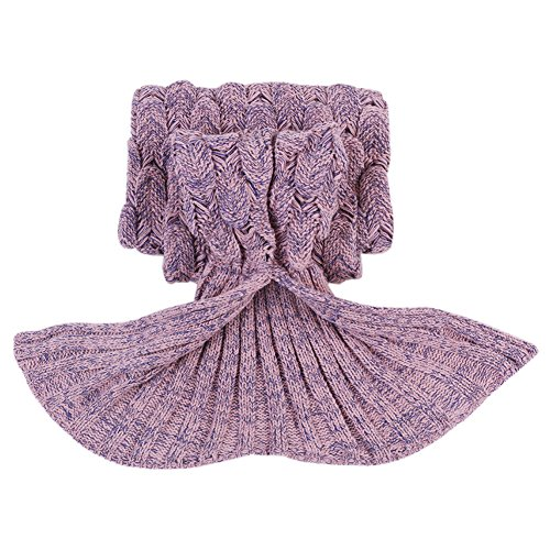 Mermaid Tail Blanket for Kids, Fredhome All Seasons Warm Soft Falbala Knitted Crochet Living Room Sofa Sleeping Bag Mermaid Blanket with Scales(59″ x 29.5″, Fish Scale-Pink)