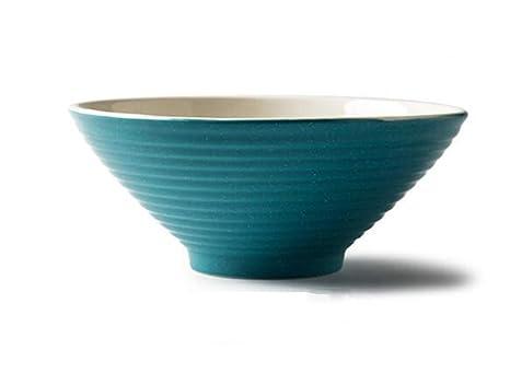 Amazon.com: Cuenco de cerámica japonesa azul Ramen con forma ...