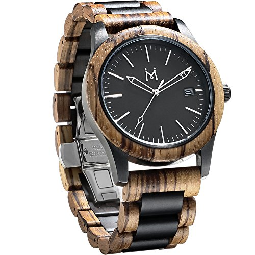 GOGOMY Mens Wooden Watches 50M Waterproof Watch for Men Two-Tone Wood Watch with Date Display