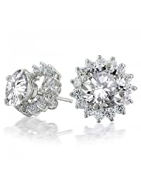 Bling Jewelry Sterling Silver CZ Round Removable Jacket Stud Earrings 7mm