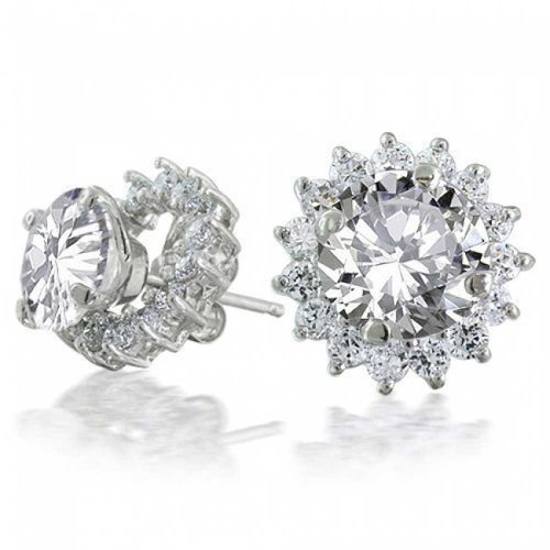 Bling Jewelry Round Removable Halo Jacket CZ Stud Earrings 925 Sterling Silver 12mm