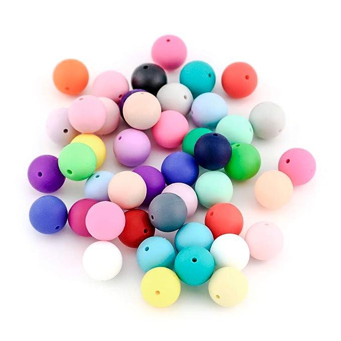 RUBY - Lote 20 Bolas mordedor Silicona Ø 15mm para Realizar DIY Collar, chupetero, Color Surtido. Silicona orgánica 100% Apto para Bebe, sin BPA (Bola ...