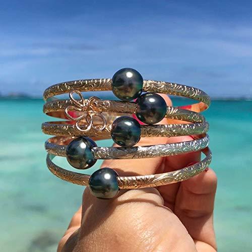 (Tahitian Pearl 4mm Hawaiian Heirloom Bangle Bracelet, Tahitian pearl bracelet, pearl bracelets for women, bangle bracelets for women, 14K Gold Filled, Sterling Silver)